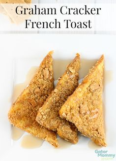 Graham Cracker French Toast is a delicious twist on traditional French toast breakfast recipe. It's also a great way to use up extra graham crackers. - Graham Cracker French Toast Recipe on Gator Mommy Reviews