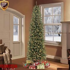 7.5 ft. Christmas Tree Pre-Lit Fraser Fir Pencil 350 Clear UL Lights and Stand #75ftChristmasTree