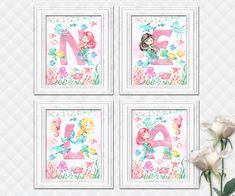 Custom name letters prints baby girl mermaid nursery art kids room wall decor shower decoration digital print sea life ocean artwork pink Baby Room Wall Decor, Baby Girl Nursery Decor, Playroom Decor, Nursery Art, Ocean Artwork, Kids Artwork, Kids Room Art, Art For Kids, Mermaid Nursery