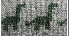 to vrange: En dinosaurus går på jorden - fair isle knittings Knitting Machine Patterns, Knitting Charts, Knitting Stitches, Knitting Socks, Knitting Designs, Knitting Projects, Crochet Projects, Crochet Dinosaur, Dinosaur Pattern