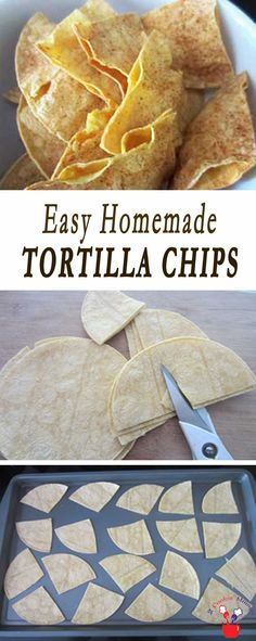 Easy Homemade Tortilla Chips - 2 Cookin' Mamas # Food and Drink homemade Homemade Tortilla Chips Healthy Tortilla Chips, Healthy Chips, Healthy Snacks, Homemade Corn Tortillas, Homemade Chips, Homemade Tortilla Chips Baked, Easy Homemade Snacks, Baked Chips, Mexican Food Recipes
