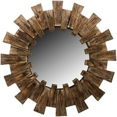 This beautiful farmhouse style starburst wall mirror will make a statement in any room. This piece will work perfectly as an accent mirror to add style to any room, especially those modern farmhouse s Starburst Mirror, Round Wall Mirror, Mirror Mirror, Rustic Farmhouse, Farmhouse Style, Pallet Mirror, Rustic Wall Mirrors, Shabby Chic Decor, Wall Decor