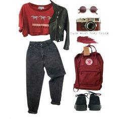 Cropped + Mini Jaqueta + Calça Jeans + Tênis + Mochila + Óculos #grungeoutfits
