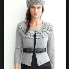 Banana Republic gray cardigan 45% wool 25% viscose 20% nylon 10% cashmere. 3/4 length sleeve. Sweetest little piece to dress up jeans...also looks great with black pants or skirt. (Does not include belt shown in first picture) Banana Republic Sweaters Cardigans