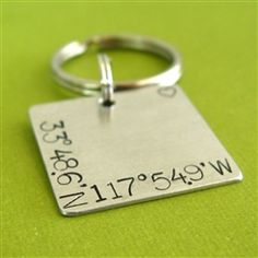 Latitude and Longitude Square Key Chain - Spiffing Jewelry