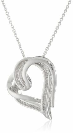 Sterling Silver and Diamond Double Heart Pendant Necklace