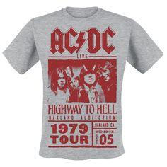 """#T-Shirt grigia da uomo """"Red Highway Photo"""". Sulla maglietta è presente un ampia stampa con la foto e il logo degli #ACDC in rosso e la scritta """"Highway To Hell - Oakland Auditorium - 1979 Tour""""."""