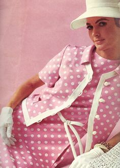 Pink and white polka dot suit in the spring/summer Sears catalog, 1968.