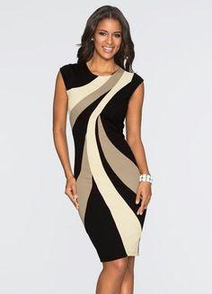 Vestido Tubinho com Estampa Geométrica Bege - Compre em até 5X sem juros na loja Bonprix , veja nossas condições para Frete Grátis.