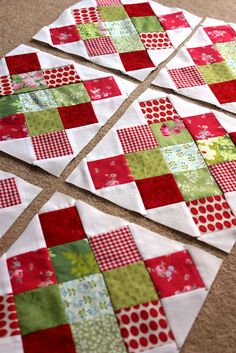 Granny square blocks, red and green