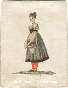 """Curtsy"" Biedermeier card hand colored pull tab movable engraving ca.1820 by Adamek"