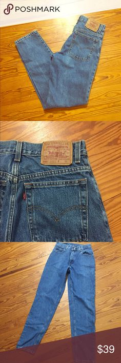 "Vintage Levi's 550 high waist jeans These 550's have a slightly slimmer hip measurement than most 550's and a long inseam. Tapered leg. Would best fit a 27 or 28, but use these measurements for optimal fit - waist: 13.75"", hips: 18.5"", rise: 11"", inseam: 32"". Model wears a size 25 in this cut, for reference. Like vintage Levi's from Urban Outfitters, Reformation, and Nasty Gal! Offers welcome! Urban Outfitters Jeans"