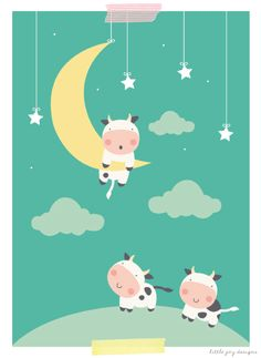 'The Cow Didn't Make it Over The Moon' This print can be customised especially for the recipient. Dimensions: x - Titled 'The Cow Didn't Make it Over The Moon' this is a little humorous spin on the original nursery rhyme, and now the poor co. Cow Illustration, Hey Diddle Diddle, Cute Cows, Cute Cartoon, Goat Cartoon, Over The Moon, Moon Art, Cute Characters, Cute Pictures