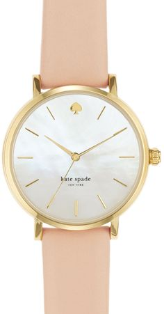 Peach & gold Kate Spade watch. Perfect for stacking with sparkly bracelets.