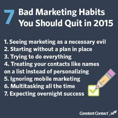 Are these marketing habits holding you back? This is the year to do marketing the right way! Check out blogs.constantcontact.com for the best practices you should be using.  #TuesdayTip #smallbusiness #socialmediamarketing #emailmarketing