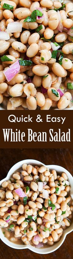 Simple white bean salad, takes only 5 minutes to make and is so good! Perfect for when you are in a hurry and still want to eat well. On http://SimplyRecipes.com
