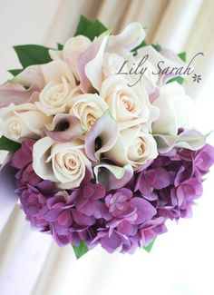 Hydrangea, Calla Lily and Roses bouquet by Lily Sarah : )