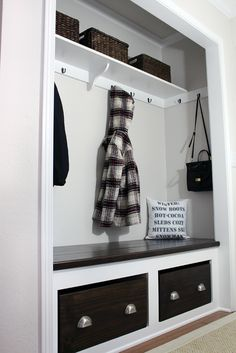 6 Ways to Turn A Coat Closet into a Mudroom - Farmhouse Blooms 6 Ways to Turn A Coat Closet into a Mudroom - Farmhouse Blooms hallway closet organization Closet Nook, Hallway Closet, Closet Mudroom, Converted Closet, Front Hall Closet, Closet Conversion, Closet Remodel, Home Remodeling, Condo