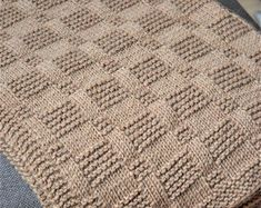 Easy Blanket PATTERN written instructions with diagram Puff Blanket, Wool Baby Blanket, Easy Baby Blanket, Make Blanket, Knitted Baby Blankets, Geometric Patterns, Crochet Flower Patterns, Baby Knitting Patterns, Baby Patterns