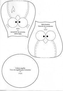 Fun felt crafts ideas including: birds, owl and cat templates. Owl Patterns, Applique Patterns, Sewing Patterns, Fabric Crafts, Sewing Crafts, Sewing Projects, Owl Sewing, Motifs D'appliques, Owl Templates