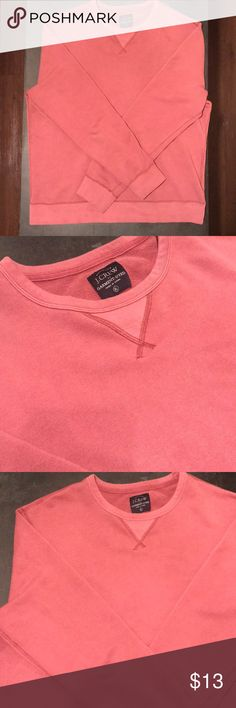 J. Crew Garment-Dyed Sweatshirt (Coral) J. Crew Garment-Dyed Sweatshirt  100% Cotton  J. Crew is known for their garment-dyed selection due to their special fabric dying after the garments construction. The fabric softness is unparalleled and makes for a comfortable and simplistic addition to your closet.   (Only lightly worn due to warm temperatures in the South) J. Crew Shirts Sweatshirts & Hoodies