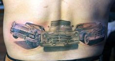 Of all possible tattoo ideas that a man could possibly have on their bodies, this is the best lower back tattoos idea that a car lover can have on their bodies. This tattoo's pattern depicts three classic cars all drawn at the base of the back. Back Tattoos Spine, Girl Back Tattoos, Car Tattoos, Back Tattoos For Guys, Back Tattoo Women, Foot Tattoos, Lower Back Tattoos, Tribal Pattern Tattoos, Tribal Tattoos For Men