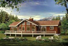 This cabin-style vacation home (House Plan has 1292 sq ft of living space. The floor plan includes a vaulted living area and 3 bedrooms. A Frame House Plans, House Plans 3 Bedroom, Cabin House Plans, Beach House Plans, Modern Floor Plans, Modern House Plans, Modern Houses, Contemporary Style Homes, Contemporary House Plans