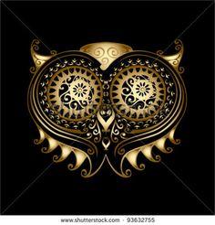 golden owl head - ornamented illustration by Petrovic Igor, via ShutterStock