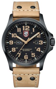 Men's Wrist Watches - Luminox 1925 45mm Stainless Steel Case Beige Leather AntiReflective Sapphire Mens Watch -- You can get more details by clicking on the image.