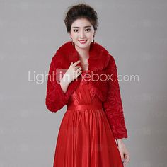 Fur Wraps / Wedding Wraps Coats/Jackets Long Sleeve Faux Fur White / Ruby Wedding Wide collar Feathers / fur Lace-up 2017 - $32.88