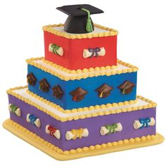 The Best and Brightest Cake - Three diamond-shaped tiers topped by a mortarboard cake baked in our Mini Wonder Mold Pan. The colorful cake side candy accents are molded in the Graduation Lollipop Mold. Bright Cakes, Colorful Cakes, Wilton Cakes, Cupcake Cakes, Cookie Cakes, Cookies, Beautiful Cakes, Amazing Cakes, Graduation Celebration