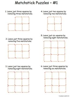 Here is a set of six easy matchstick puzzles to get beginners started on this old time brain teasing opportunity. Free for you to print and the solutions are included. Logic Puzzles, Word Puzzles, Puzzles For Kids, Riddle Puzzles, Number Puzzles, Printable Brain Teasers, Brain Teasers For Kids, Brain Teaser Games, Lateral Thinking