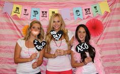 A colorful photo booth and props will only add to the fun of bid day!