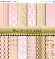 """Erröten und Gold Digital Paper: """"Blush und Gold-Muster"""" erröten, Hochzeit, Rosa und gold, save the Date Karten, Scrapbooking, Handwerk von Lunabludesign auf Etsy https://www.etsy.com/de/listing/200754909/erroten-und-gold-digital-paper-blush-und"""