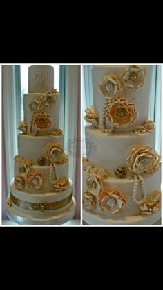 Peach an Ivory vintage wedding cake by karenskakestudio.com