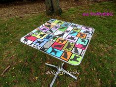 ma toutoutable: vraie table métal de bistrot recouverte de pâte polymère