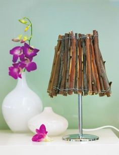 diy twig lampshade (or even do this on a lampshade for a pendant light over a dining table, island, etc - maybe even just atach the twigs over a basic lampshade)