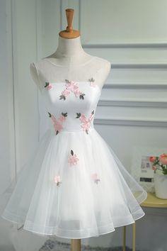 Cute White Tulle Short Prom Dress, Lovely Party Dress, White Graduation Dress 2018
