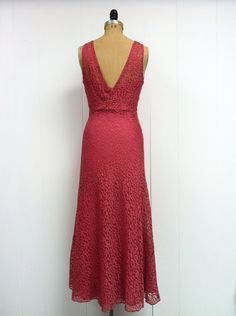1930s Raspberry Lace Gown Jacket 30s Set by LostnFoundVintage(300)