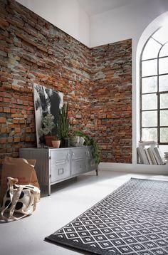 Bricklane exposed brick photo wall, one of 16 wallpapers I have chosen to take your home to different places - jungle, urban jungle, outdoors, the forest - so many amazing wallpapers out there!