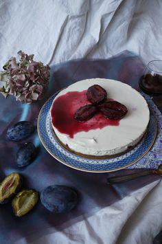 Cheesecake cru aux prunes rôties au Marsala