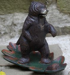 Great Painted Cast Iron Bear Nutcracker