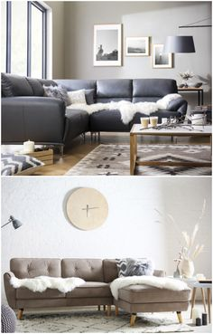 Hygge living room styling ideas: Complement wood flooring with soft, fluffy accessories. Mismatched cushions, sheepskin throws and fuzzy rugs make the perfect contrast. Scandinavian tones typically include varying shades of grey, white and cream so remember this when decorating your living space. (Photos: Furniture Choice). Read more about the hygge trend at housebeautiful.co.uk