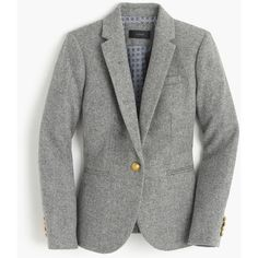 J.Crew Campbell Blazer featuring polyvore, women's fashion, clothing, outerwear, jackets, blazers, slim fit blazer, fleece-lined jackets, slim jacket, slim blazer and fitted jacket