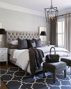 """""""Black, white and every shade in between! Very cool bedroom by Sneller Custom Homes """""""