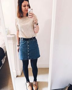 Denim Button Down Mini Skirt by ASOS. Top by H&M. Brown suede Dr Martens - Hannah 🌿 (@hannahandtheblog) on Instagram