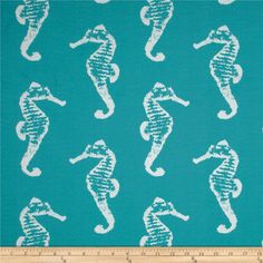 Premier Prints Indoor/Outdoor Sea Horse Ocean from @fabricdotcom  Premier Prints outdoor fabrics are screen printed on spun polyester and have a stain and water resistant finish. These fabrics withstand direct sunlight for uprecommended - Air Dry Only - Do not Dry Clean. Colors include white on turquoise.
