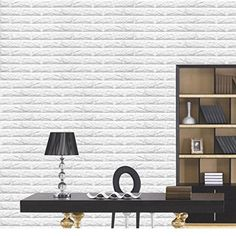 LEERYA PE Foam 3D Wallpaper DIY Wall Stickers Wall Decor Embossed Brick Stone White ** Click image for more details.