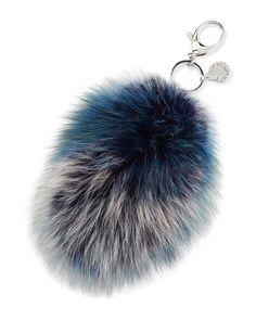 Fox-Fur+Tail+Charm+for+Handbag,+Blue/Multi+by+Rebecca+Minkoff+at+Neiman+Marcus.