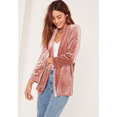 Missguided Slouchy Velvet Blazer ($43) ❤ liked on Polyvore featuring outerwear, jackets, blazers, pink, velvet jackets, velvet blazer, red jacket, red velvet blazer and pink jacket